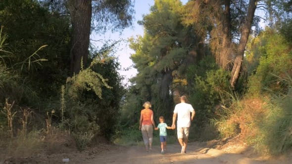 Cover Image for Child And Grandparents Running In The Forest