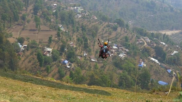 Thumbnail for Paragliding Tandem Starts With a Passenger
