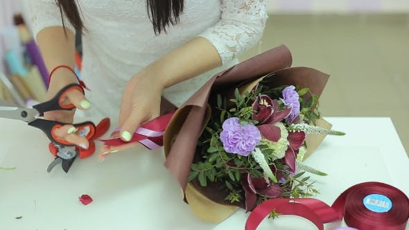 Thumbnail for Florist Collect Beautiful Bouquet Of Flowers