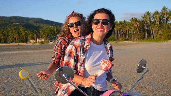 Happy Lifestyle Girls On Beach