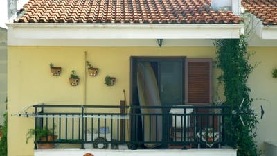 Waving Curtain On Balcony.