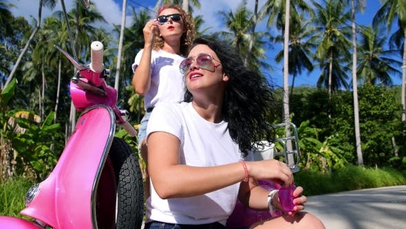Thumbnail for Happy Lifestyle Of Summer Girls On Vespa Scooter