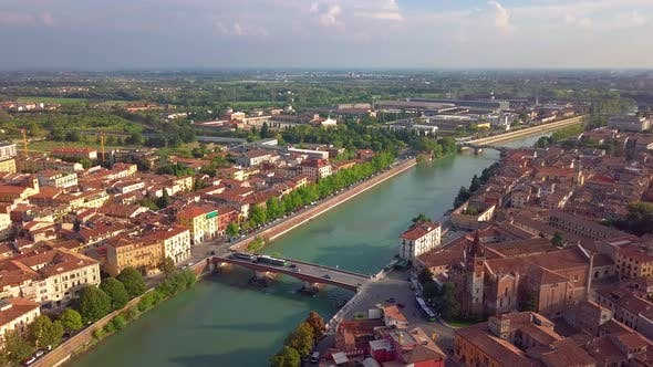 Thumbnail for Panoramic Aerial Drone View of Medieval City of Love Verona, Pietra Bridge and Adige River