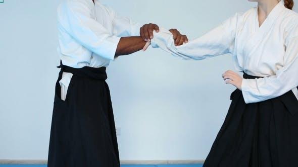 Thumbnail for Zwei Personen In Schwarz Hakama Praxis Aikido Auf Kampfsport-Ausbildung