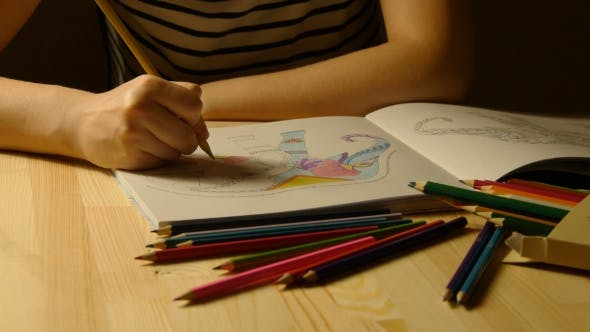 Cover Image for Female Hands Draws Adult Coloring Book Late Night.