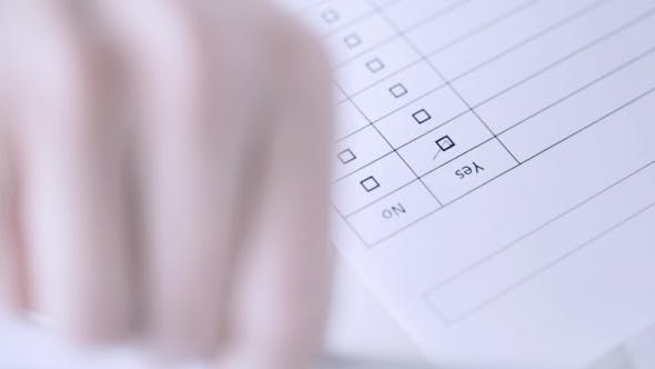 Thumbnail for Hands Filling Checklist And Answering With No 21