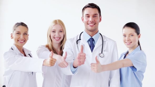 Thumbnail for Group Of Happy Doctors Showing Thumbs Up Gesture 47