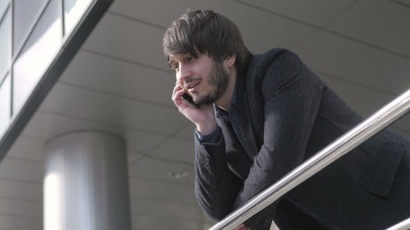 Thumbnail for Man With Smart Phone, Young Business Man In Airport. Casual Urban Professional Businessman Using