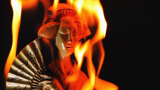 Thumbnail for Chinese Girl Statue Burning Fire