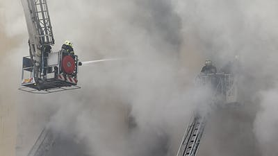 Firefighters with Fire Stairs