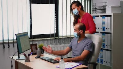 Business Team Working Wearing Mask