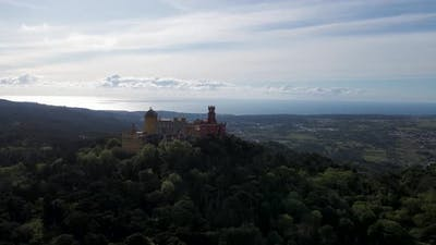 Aerial view of Pena Castle at sunset, Sintra, Lisbon, Portugal.