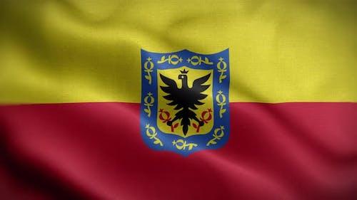 Bogota Kolumbien-Flaggen-Schleife-Hintergrund 4K