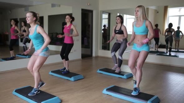 Thumbnail for Female Group Doing Aerobics In Gym