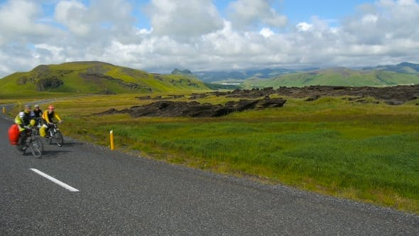 Thumbnail for Cyclists On The Road In Iceland