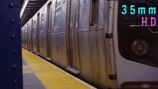 Thumbnail for Subway Train Arrives at Platform in Manhattan New York