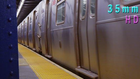 Thumbnail for Subway Train Leaving at Platform in Manhattan New York 03