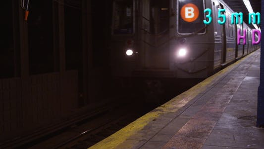 Subway Train Arrives at Platform in Manhattan New York 06