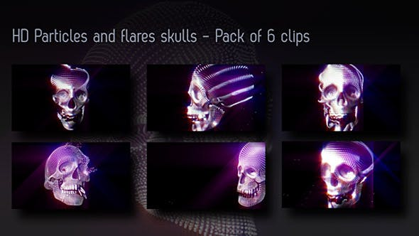 Particles And Flares Skulls Backgrounds - Pack Of 6 Videos