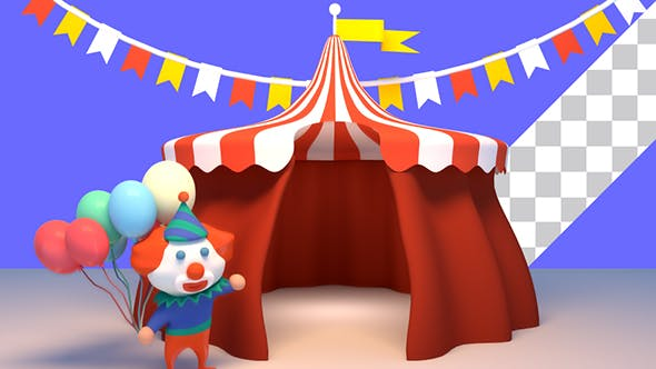 Thumbnail for 3D Cartoon Clown And Circus Tent