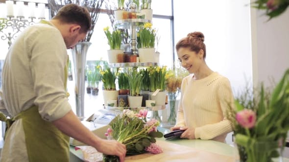 Thumbnail for Florist And Woman Buying Flowers At Flower Shop 7