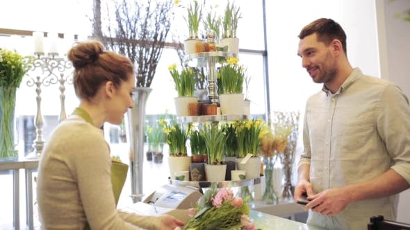Thumbnail for Florist And Man Buying Flowers At Flower Shop 6