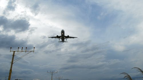 Airplane Arriving to Airport at a Cloudy Day
