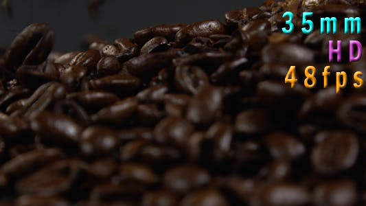 Coffee Beans Falling Down on Black Table 32