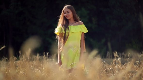 Thumbnail for Beautiful Girl With Long Hair Walking Between The Ears Of Wheat.