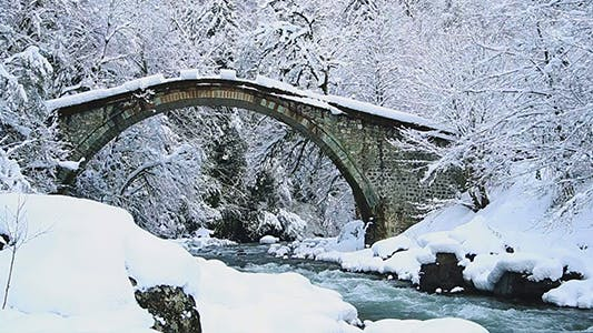 Thumbnail for Winter View of Snowy Bridge