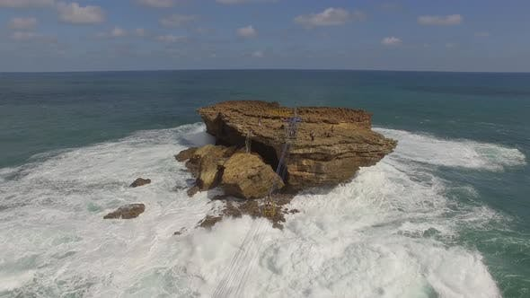 Thumbnail for Aerial view cable car connecting isolate rock formation, Jogjakarta, Indonesia