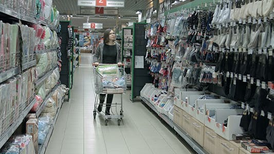 The Girl in the Shop With a Grocery Trolley