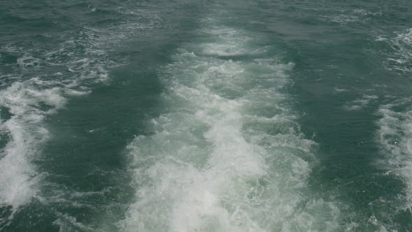 Thumbnail for Sea Water Trails Behind Boat