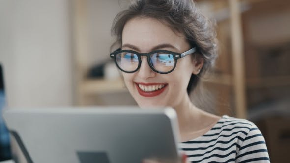 Thumbnail for Stylish Brunette Working From Home In Her Home Office