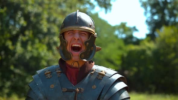 Thumbnail for Roman soldier screaming, slow motion