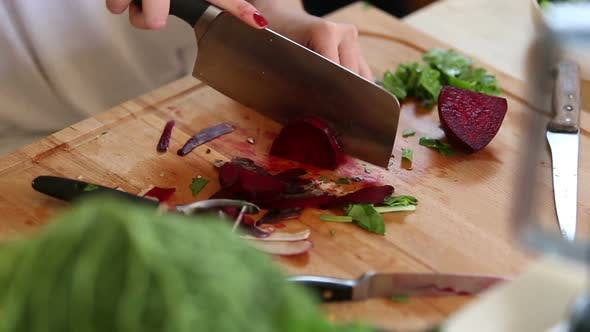 Thumbnail for Close-Up Of Cutting Beetroot 1