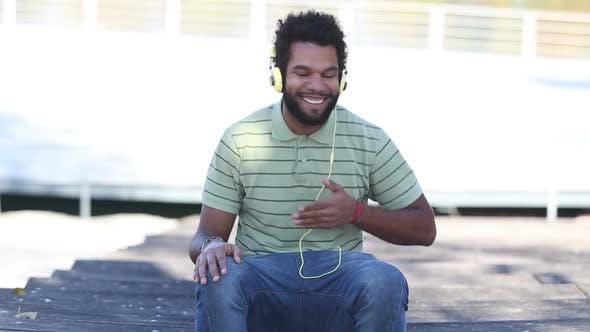 Thumbnail for African American Man With Headphones Listening To Music