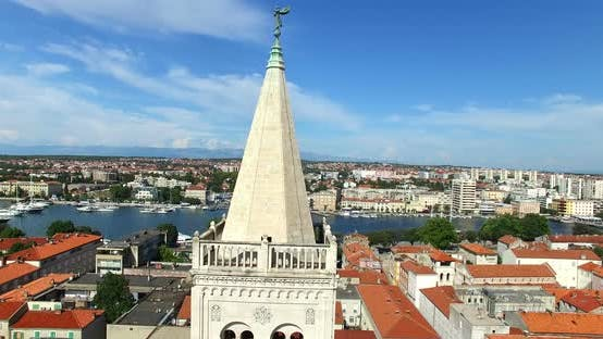 Thumbnail for Angel On Top Of Tower Of Cathedral Of St. Anastasia In Zadar, Croatia 1