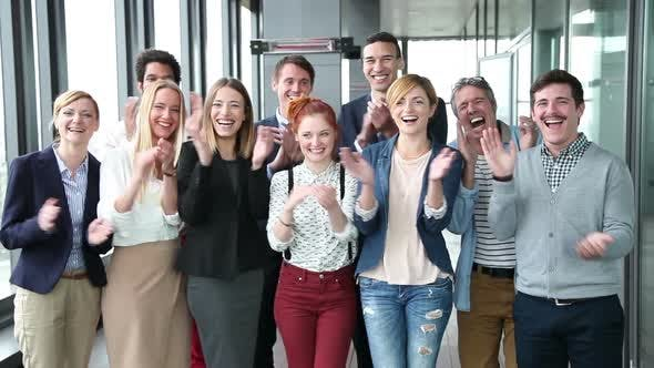 Thumbnail for Portrait Of Business And Advertising Team, Laughing And Clapping