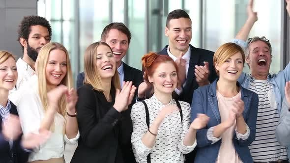 Thumbnail for Portrait Of Happy Business People Clapping 1