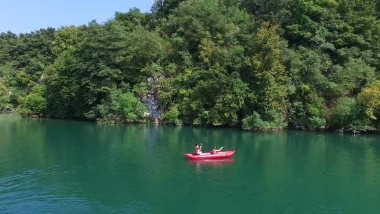 Thumbnail for Couple Paddling Canoe On River On Mreznica River, Croatia