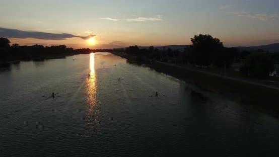 Thumbnail for Rowing Boats On Jarun Lake At Sunset 2