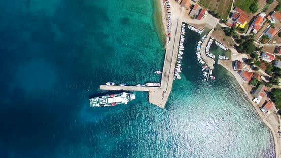 Thumbnail for Aerial View Of Ferry Leaving Port At Olib Island, Croatia 1
