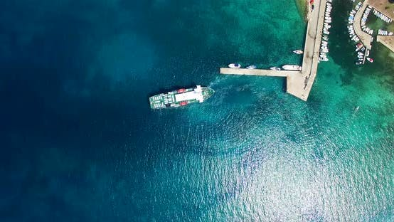 Thumbnail for Aerial View Of Ferry Leaving Port At Olib Island, Croatia 2