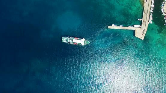 Thumbnail for Aerial View Of Ferry Leaving Port At Olib Island, Croatia 4