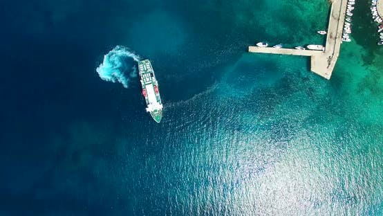 Thumbnail for Aerial View Of Ferry Leaving Port At Olib Island, Croatia 6