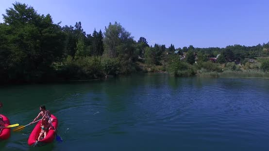 Thumbnail for Aerial View Of Friends Paddling Canoe On River On Mreznica River, Croatia