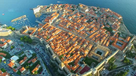 Thumbnail for Aerial View Of Beautiful Old Town Of Dubrovnik At Sunset 3