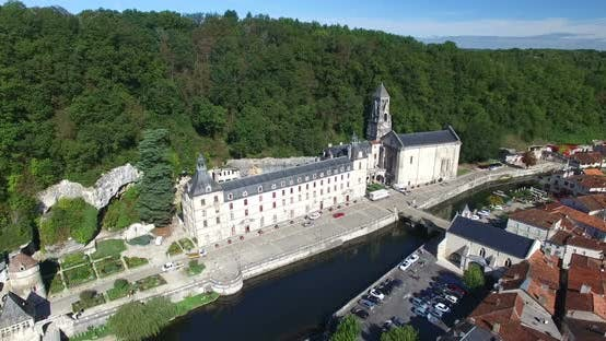 Thumbnail for Aerial View Of Benedictine Abbey Of Brantome And River, France 1