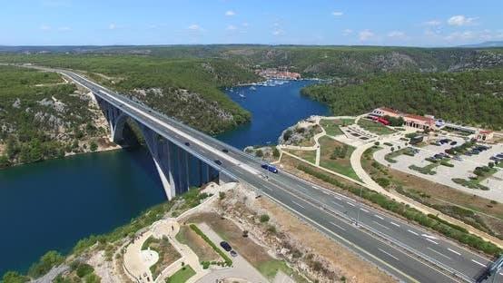 Thumbnail for Aerial View Of Krka Bridge Highway, Croatia 1